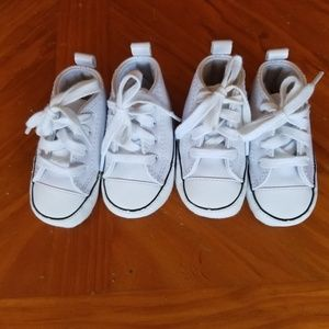 White leather Converse baby size 1 new TWINS